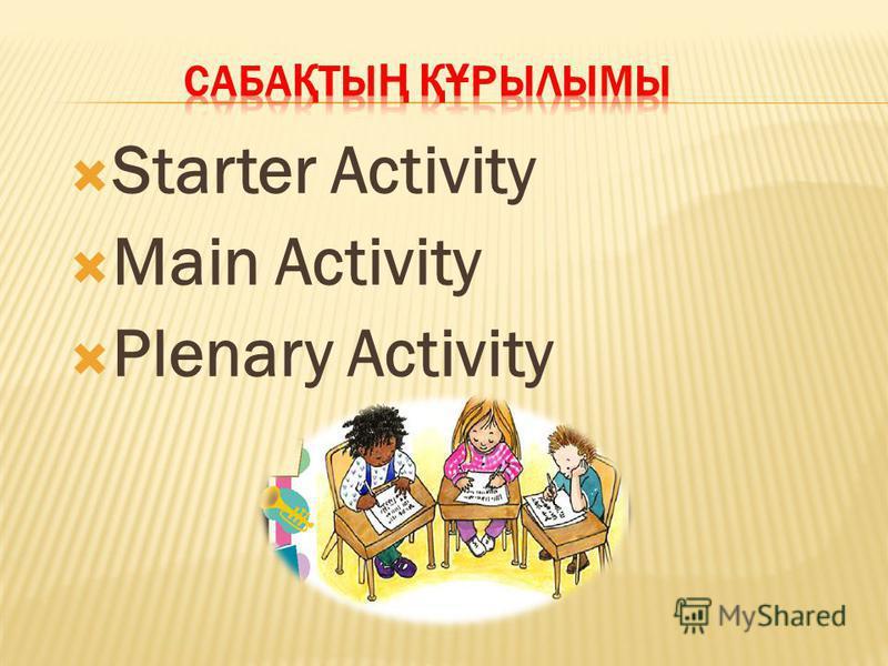 Starter Activity Main Activity Plenary Activity