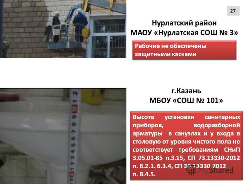 Высота установки санитарных приборов, водоразборной арматуры в санузлах и у входа в столовую от уровня чистого пола не соответствует требованиям СНиП 3.05.01-85 п.3.15, СП 73.13330-2012 п. 6.2.1. 6.3.4, СП 30.13330.2012 п. 8.4.5. Высота установки сан