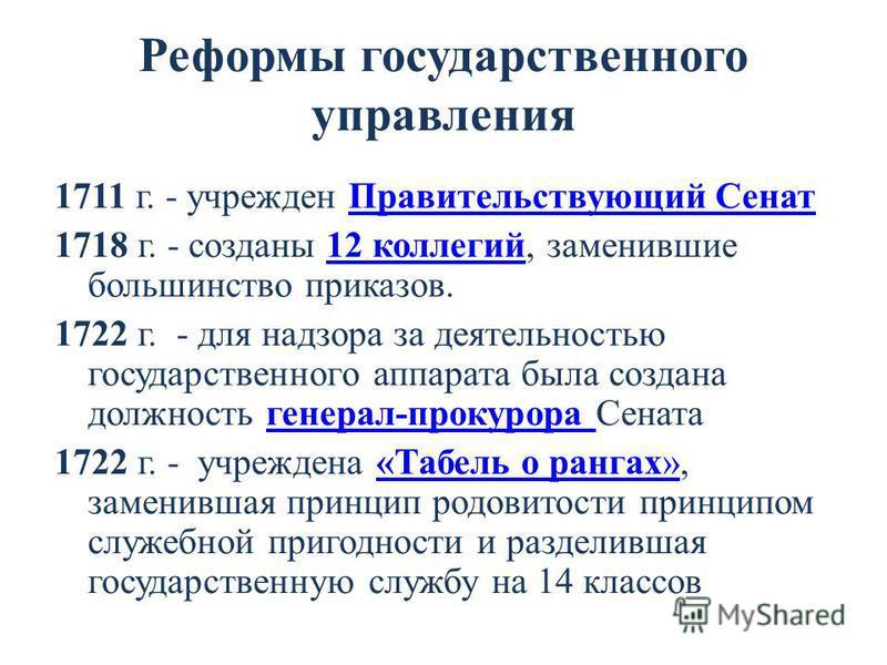 Реформы государственного управления 1711 г. - учрежден Правительствующий Сенат Правительствующий Сенат 1718 г. - созданы 12 коллегий, заменившие большинство приказов.12 коллегий 1722 г. - для надзора за деятельностью государственного аппарата была со