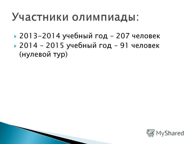 2013-2014 учебный год – 207 человек 2014 – 2015 учебный год – 91 человек (нулевой тур)