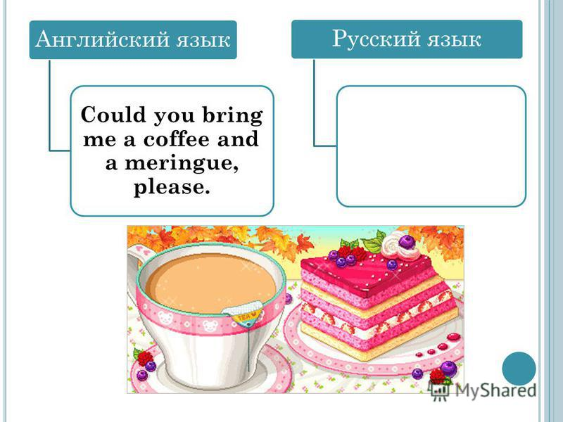 Английский язык Could you bring me a coffee and a meringue, please. Русский язык