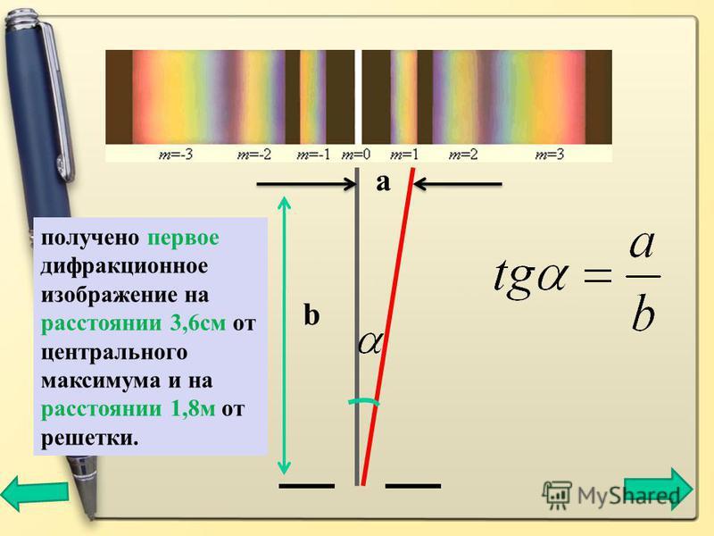 a b получено первое дифракционное изображение на расстоянии 3,6 см от центрального максимума и на расстоянии 1,8 м от решетки.