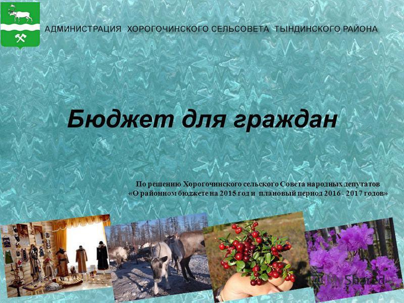Бюджет для граждан По решению Хорогочинского сельского Совета народных депутатов «О районном бюджете на 2015 год и плановый период 2016 - 2017 годов»
