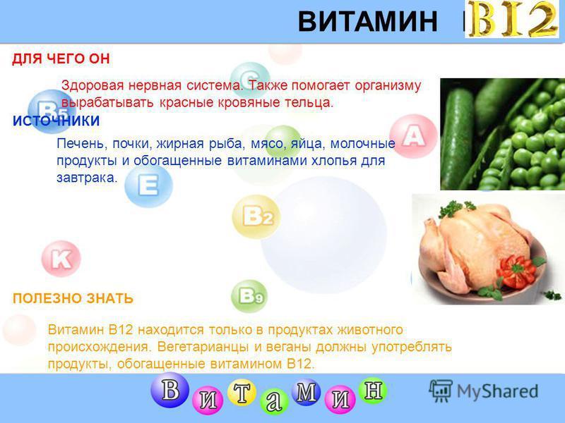 ВИТАМИН B6 ДЛЯ ЧЕГО ОН ИСТОЧНИК ПОЛЕЗНО ЗНАТЬ Здоровая нервная система. Также помогает организму вырабатывать красные кровяные тельца. Большой диапазон продуктов, включая мясо, печень, рыбу, яйца, хлеб из непросеянной муки, обогащенные витаминами хло