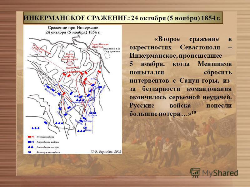 ИНКЕРМАНСКОЕ СРАЖЕНИЕ: 24 октября (5 ноября) 1854 г. «Второе сражение в окрестностях Севастополя – Инкерманское, происшедшее 5 ноября, когда Меншиков попытался сбросить интервентов с Сапун-горы, из- за бездарности командования окончилось серьезной не