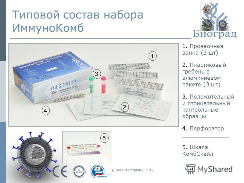 © ЗАО «Биоград», 2012 Типовой состав набора Иммуно Комб 1. Проявочная ванна (3 шт) 2. Пластиковый гребень в алюминиевом пакете (3 шт) 3. Положительный и отрицательный контрольные образцы 4. Перфоратор ______________ 5. Шкала Комб Скейл 1 3 2 4 5
