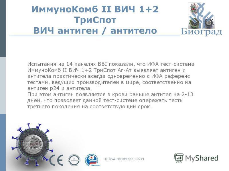 Иммуно Комб II ВИЧ 1+2 Три Спот ВИЧ антиген / антитело © ЗАО «Биоград», 2014