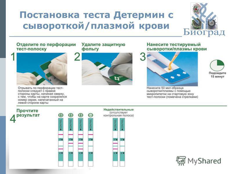 Постановка теста Детермин с сывороткой/плазмой крови © ЗАО «Биоград», 2013