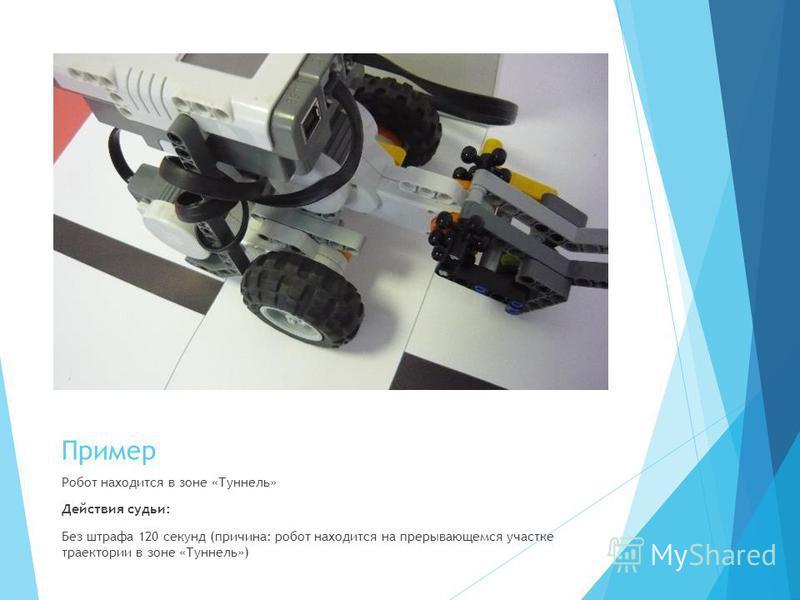 Пример Робот находится в зоне «Туннель» Действия судьи: Без штрафа 120 секунд (причина: робот находится на прерывающемся участке траектории в зоне «Туннель»)