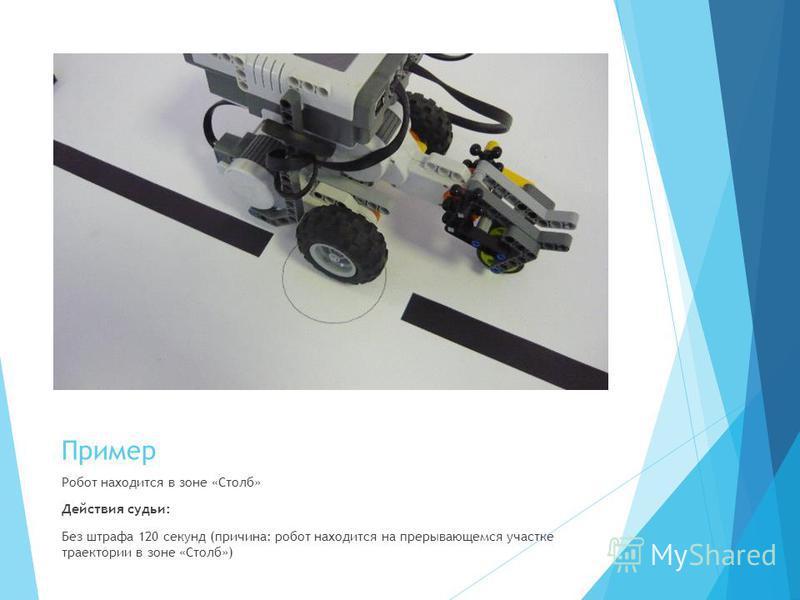 Пример Робот находится в зоне «Столб» Действия судьи: Без штрафа 120 секунд (причина: робот находится на прерывающемся участке траектории в зоне «Столб»)