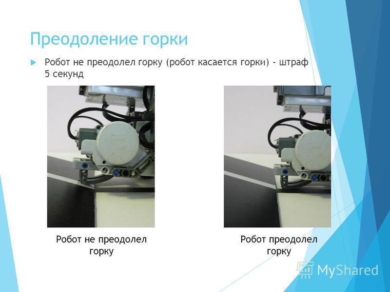 Преодоление горки Робот не преодолел горку (робот касается горки) – штраф 5 секунд Робот не преодолел горку Робот преодолел горку