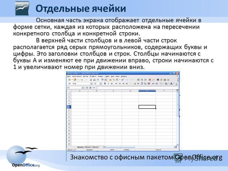 Знакомство с офисным пакетом OpenOffice.org Основная часть экрана отображает отдельные ячейки в форме сетки, каждая из которых расположена на пересечении конкретного столбца и конкретной строки. В верхней части столбцов и в левой части строк располаг