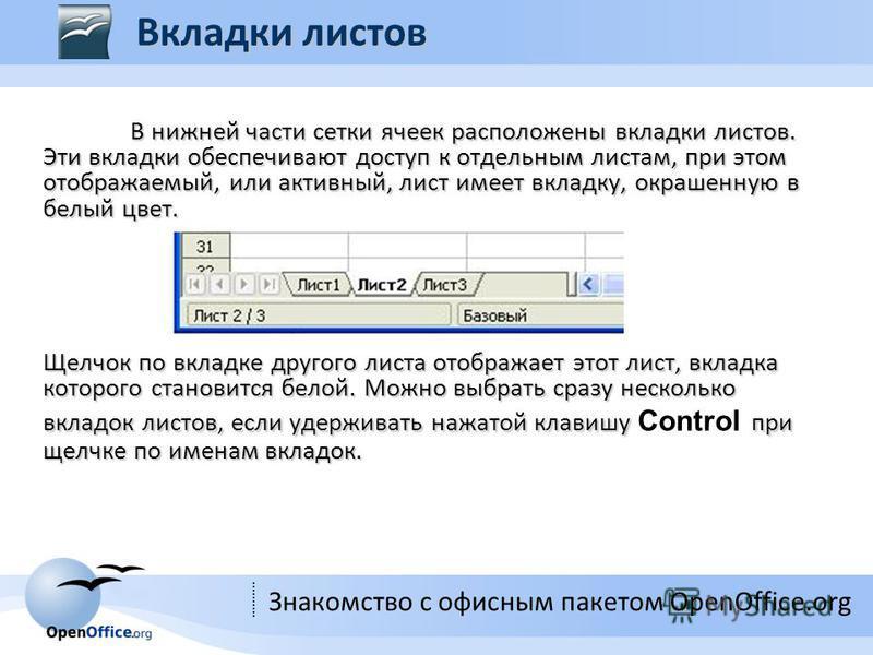 Знакомство с офисным пакетом OpenOffice.org В нижней части сетки ячеек расположены вкладки листов. Эти вкладки обеспечивают доступ к отдельным листам, при этом отображаемый, или активный, лист имеет вкладку, окрашенную в белый цвет. Щелчок по вкладке