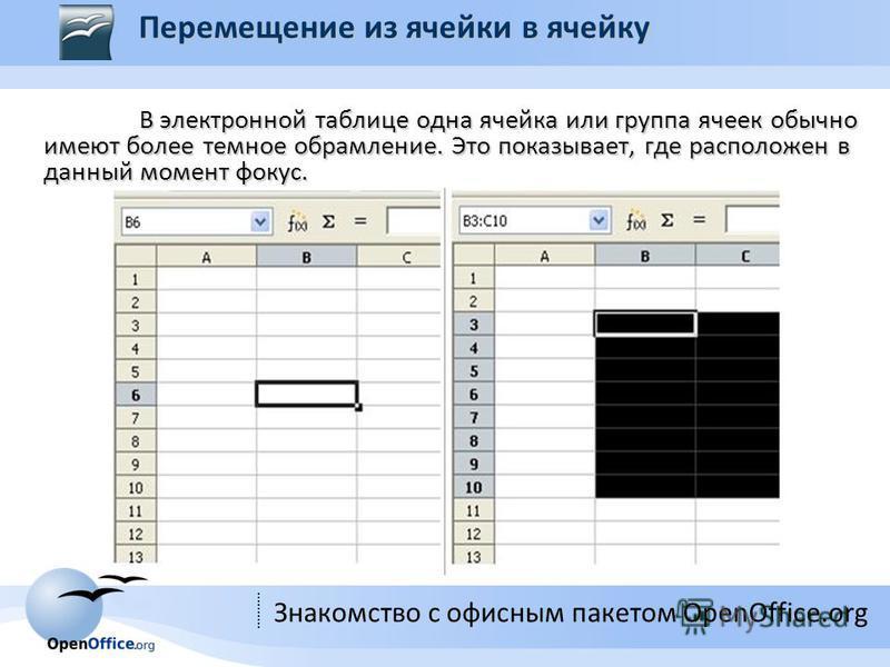 Знакомство с офисным пакетом OpenOffice.org В электронной таблице одна ячейка или группа ячеек обычно имеют более темное обрамление. Это показывает, где расположен в данный момент фокус. В электронной таблице одна ячейка или группа ячеек обычно имеют