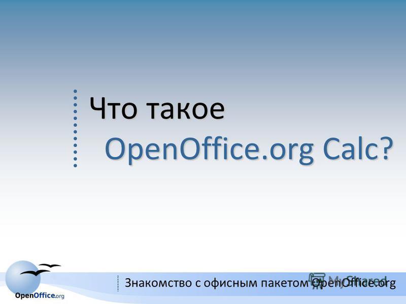 3 Знакомство с офисным пакетом OpenOffice.org Что такое OpenOffice.org Calс?