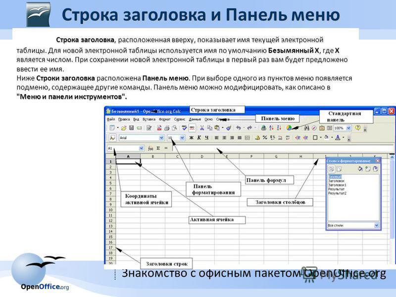 Знакомство с офисным пакетом OpenOffice.org Строка заголовка, расположенная вверху, показывает имя текущей электронной таблицы. Для новой электронной таблицы используется имя по умолчанию Безымянный X, где X является числом. При сохранении новой элек