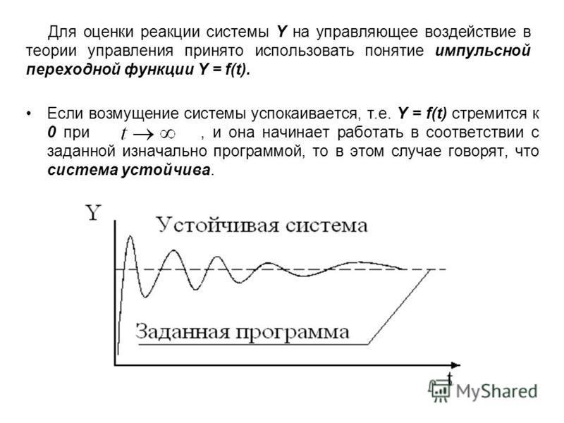 Для оценки реакции системы Y на управляющее воздействие в теории управления принято использовать понятие импульсной переходной функции Y = f(t). Если возмущение системы успокаивается, т.е. Y = f(t) стремится к 0 при, и она начинает работать в соответ