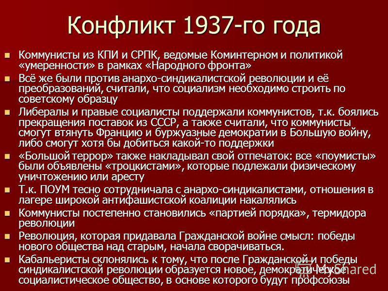 Конфликт 1937-го года Коммунисты из КПИ и СРПК, ведомые Коминтерном и политикой «умеренности» в рамках «Народного фронта» Коммунисты из КПИ и СРПК, ведомые Коминтерном и политикой «умеренности» в рамках «Народного фронта» Всё же были против анархо-си