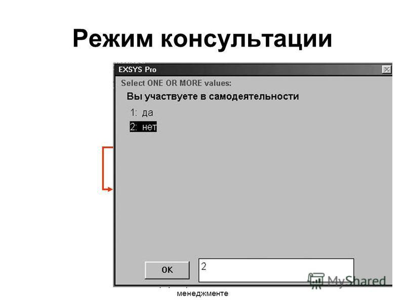 Информационные технологии в менеджменте Режим консультации «да» «нет» Вопрос