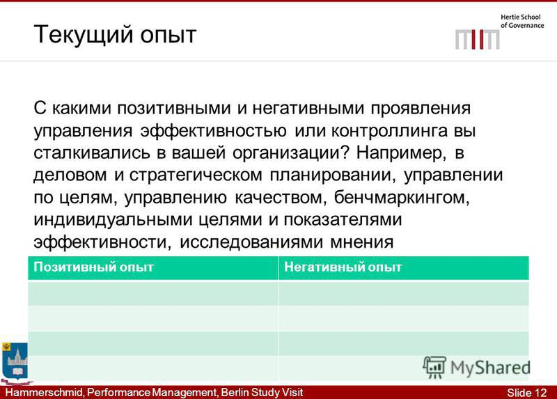 Slide 12 Hammerschmid, Performance Management, Berlin Study Visit Текущий опыт С какими позитивными и негативными проявления управления эффективностью или контроллинга вы сталкивались в вашей организации? Например, в деловом и стратегическом планиров