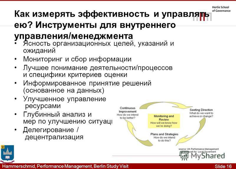 Slide 16 Hammerschmid, Performance Management, Berlin Study Visit Как измерять эффективность и управлять ею? Инструменты для внутреннего управления/менеджмента Ясность организационных целей, указаний и ожиданий Мониторинг и сбор информации Лучшее пон