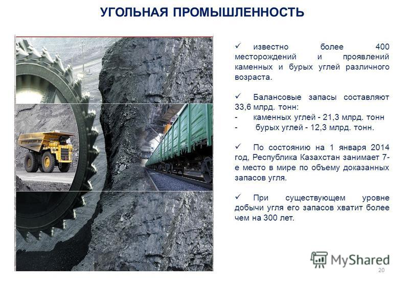 УГОЛЬНАЯ ПРОМЫШЛЕННОСТЬ известно более 400 месторождений и проявлений каменных и бурых углей различного возраста. Балансовые запасы составляют 33,6 млрд. тонн: -каменных углей - 21,3 млрд. тонн - бурых углей - 12,3 млрд. тонн. По состоянию на 1 январ
