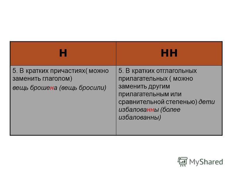 н 5. В кратких причастиях( можно заменить глаголом) вещь брошена (вещь бросили) 5. В кратких отглагольных прилагательных ( можно заменить другим прилагательным или сравнительной степенью) дети избалованы (более избалованы)