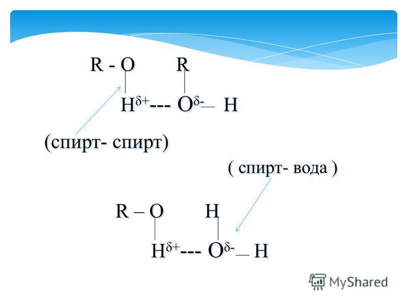 R - O R H δ+ --- O δ- H (спирт- спирт) ( спирт- вода ) R – O H H δ+ --- O δ- H R - O R H δ+ --- O δ- H (спирт- спирт) ( спирт- вода ) R – O H H δ+ --- O δ- H