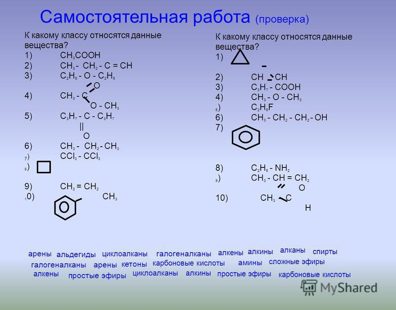 К какому классу относятся данные вещества? 1)СН 3 СООН 2)СН 3 - СН 2 - С = СН 3)С 2 H 5 - О - С 2 Н 5 О 4)СН 3 - С O - CH 3 5)С 3 Н 7 - С - С 3 Н 7 || О 6)СН 3 - СН 2 - СН 3 7 ) СCl 3 - CCl 3 8 ) 9)CH 2 = CH 2 1 0) CH 3 К какому классу относятся данн
