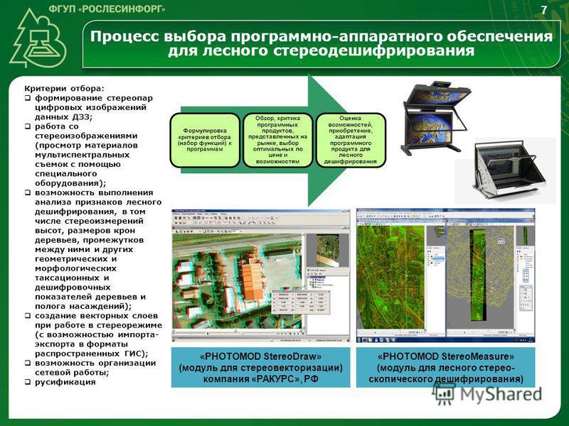 Процесс выбора программно-аппаратного обеспечения для лесного стерео дешифрирования Формулировка критериев отбора (набор функций) к программам Обзор, критика программных продуктов, представленных на рынке, выбор оптимальных по цене и возможностям Оце