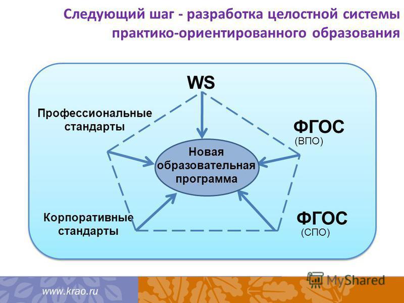 Корпоративные стандарты Следующий шаг - разработка целостной системы практико-ориентированного образования ФГОС WS (СПО) Профессиональные стандарты ФГОС (ВПО) Новая образовательная программа