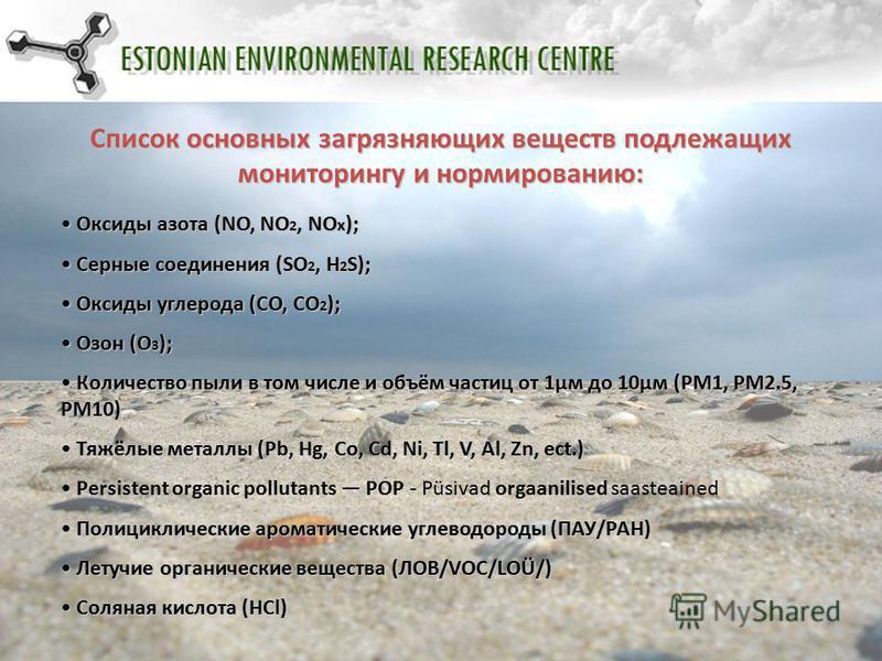 Список основных загрязняющих веществ подлежащих мониторингу и нормированию: Оксиды азота (NO, NO 2, NO x ); Оксиды азота (NO, NO 2, NO x ); Серные соединения (SO 2, H 2 S); Серные соединения (SO 2, H 2 S); Оксиды углерода (СО, СО 2 ); Оксиды углерода