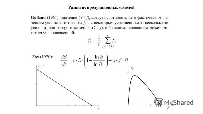 Развитие продукционных моделей Gulland (1961): значение (Y / f) t следует соотносить не с фактическим значением усилия за тот же год f t, а с некоторым усредненным за несколько лет усилием, для которого величина (Y / f) t с большим основанием может с