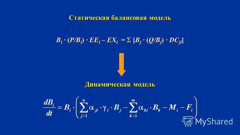 B i · (P/B i ) · EE i – EX i = [B j · (Q/B j ) · DC ji ] Статическая балансовая модель Динамическая модель