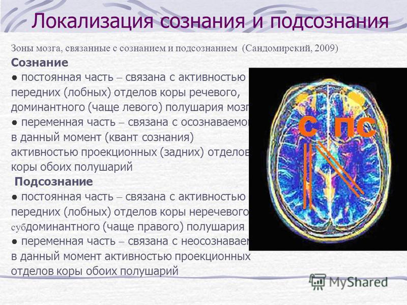 Локализация сознания и подсознания Зоны мозга, связанные с сознанием и подсознанием (Сандомирский, 2009) Сознание постоянная часть – связана с активностью передних (лобных) отделов коры речевого, доминантного (чаще левого) полушария мозга переменная