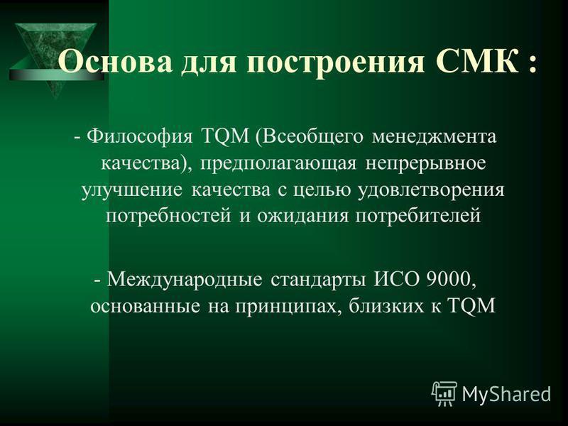 Основа для построения СМК : - Философия TQM (Всеобщего менеджмента качества), предполагающая непрерывное улучшение качества с целью удовлетворения потребностей и ожидания потребителей - Международные стандарты ИСО 9000, основанные на принципах, близк