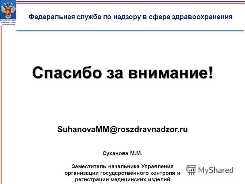 Федеральная служба по надзору в сфере здравоохранения Спасибо за внимание! Суханова М.М. Заместитель начальника Управления организации государственного контроля и регистрации медицинских изделий SuhanovaMM@roszdravnadzor.ru