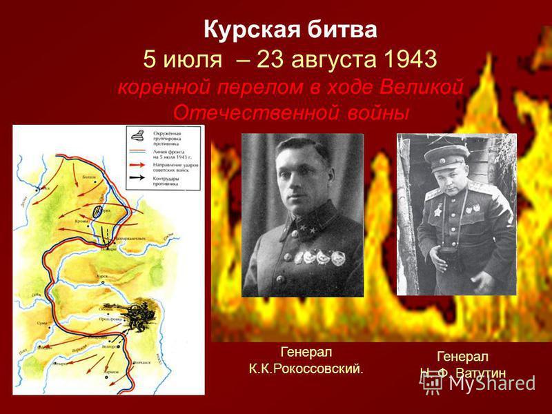 Курская битва 5 июля – 23 августа 1943 коренной перелом в ходе Великой Отечественной войны Генерал К.К.Рокоссовский. Генерал Н. Ф. Ватутин