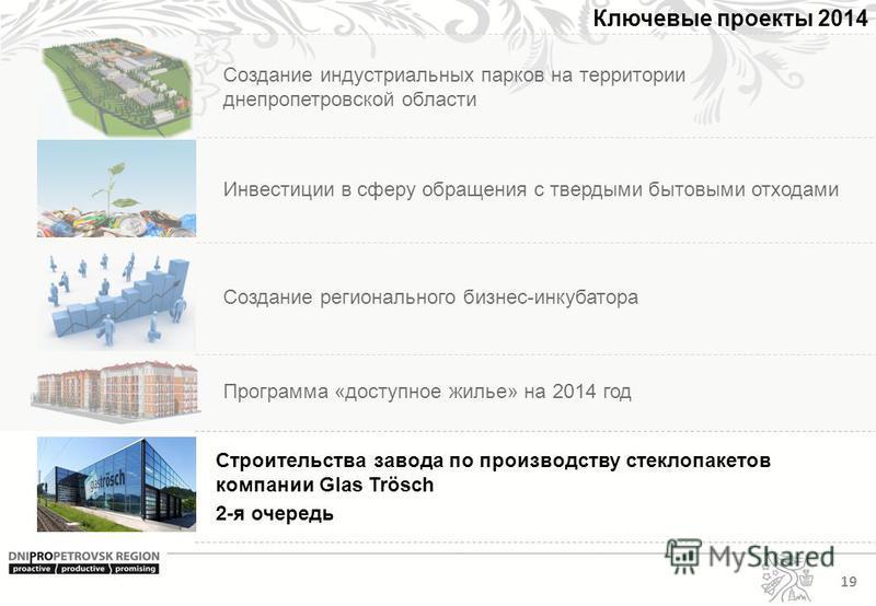 Создание индустриальных парков на территории днепропетровской области 19 Ключевые проекты 2014 Инвестиции в сферу обращения с твердыми бытовыми отходами Создание регионального бизнес-инкубатора Программа «доступное жилье» на 2014 год Строительства за