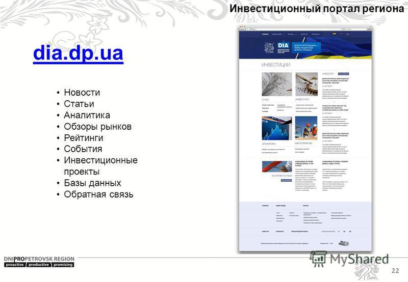 22 Инвестиционный портал региона dia.dp.ua Новости Статьи Аналитика Обзоры рынков Рейтинги События Инвестиционные проекты Базы данных Обратная связь