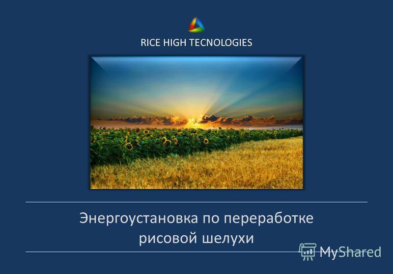 RICE HIGH TECNOLOGIES Энергоустановка по переработке рисовой шелухи
