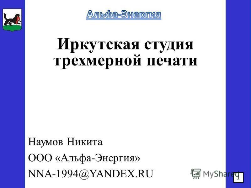 Иркутская студия трехмерной печати Наумов Никита ООО «Альфа-Энергия» NNA-1994@YANDEX.RU 1