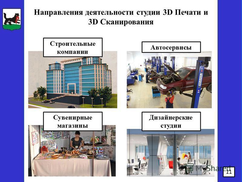 11 Сувенирные магазины Автосервисы Строительные компании Дизайнерские студии Направления деятельности студии 3D Печати и 3D Сканирования