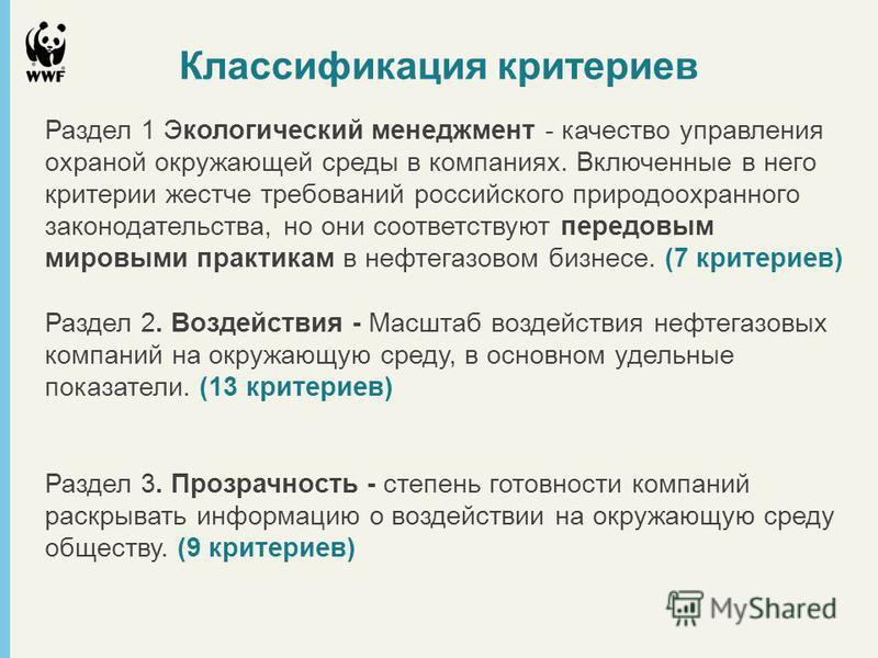 Классификация критериев Раздел 1 Экологический менеджмент - качество управления охраной окружающей среды в компаниях. Включенные в него критерии жестче требований российского природоохранного законодательства, но они соответствуют передовым мировыми