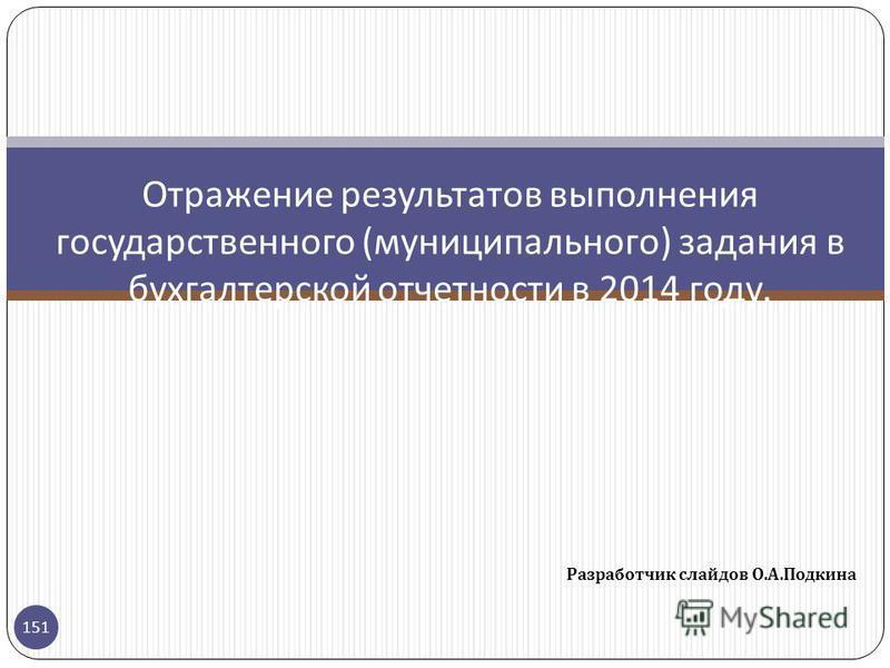 Разработчик слайдов О. А. Подкина 151 Отражение результатов выполнения государственного ( муниципального ) задания в бухгалтерской отчетности в 2014 году.