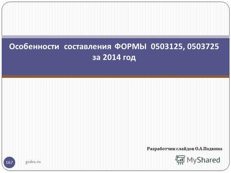 Разработчик слайдов О. А. Подкина 167 Особенности составления ФОРМЫ 0503125, 0503725 за 2014 год gosbu.ru