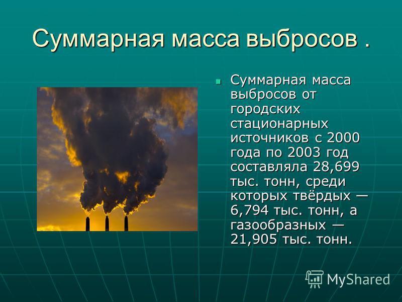 Суммарная масса выбросов. Суммарная масса выбросов от городских стационарных источников с 2000 года по 2003 год составляла 28,699 тыс. тонн, среди которых твёрдых 6,794 тыс. тонн, а газообразных 21,905 тыс. тонн. Суммарная масса выбросов от городских