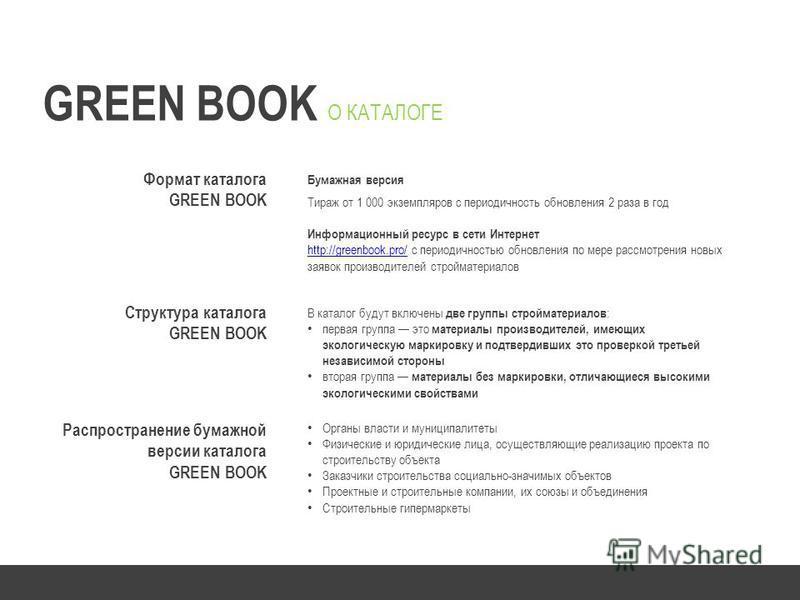 Формат каталога GREEN BOOK Бумажная версия Тираж от 1 000 экземпляров с периодичность обновления 2 раза в год Информационный ресурс в сети Интернет http://greenbook.pro/http://greenbook.pro/ с периодичностью обновления по мере рассмотрения новых заяв