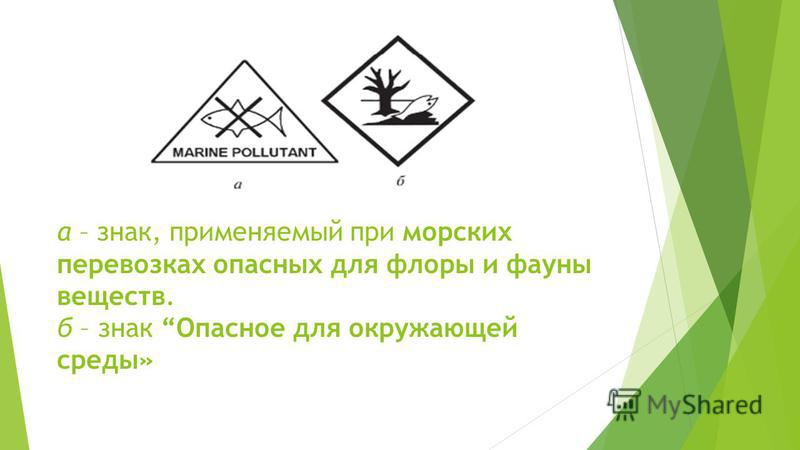 а – знак, применяемый при морских перевозках опасных для флоры и фауны веществ. б – знак Опасное для окружающей среды»