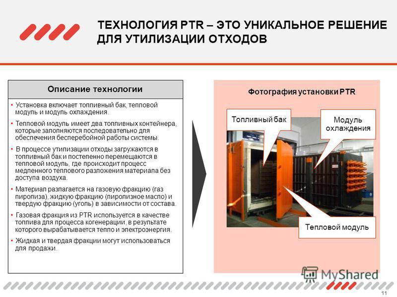 11 ТЕХНОЛОГИЯ PTR – ЭТО УНИКАЛЬНОЕ РЕШЕНИЕ ДЛЯ УТИЛИЗАЦИИ ОТХОДОВ Установка включает топливный бак, тепловой модуль и модуль охлаждения. Тепловой модуль имеет два топливных контейнера, которые заполняются последовательно для обеспечения бесперебойной